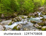 forest stream in alps mountains ...   Shutterstock . vector #1297470808
