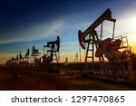 many working oil pumps...   Shutterstock . vector #1297470865