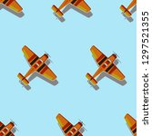 cartoon plane seamless pattern. ... | Shutterstock .eps vector #1297521355