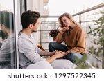 curious caucasian girl talking... | Shutterstock . vector #1297522345
