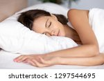 serene calm young woman... | Shutterstock . vector #1297544695