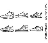 set of mans sneakers outlined...   Shutterstock .eps vector #1297546492