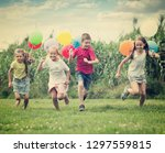 excited elementary school age... | Shutterstock . vector #1297559815