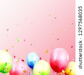 birthday balloons template with ... | Shutterstock .eps vector #1297568035