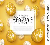 romantic easter background with ... | Shutterstock .eps vector #1297568068