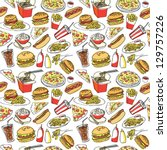 fast food seamless background   Shutterstock .eps vector #129757226