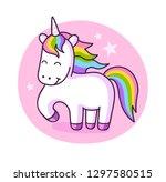cute unicorn vector... | Shutterstock .eps vector #1297580515