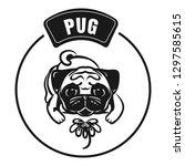 pug sniffs chamomile icon.... | Shutterstock .eps vector #1297585615
