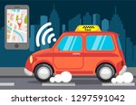 smart taxi vector flat style... | Shutterstock . vector #1297591042