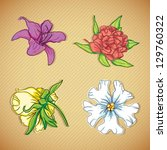 colorful flowers icons set on... | Shutterstock .eps vector #129760322