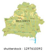 belarus physical map | Shutterstock .eps vector #1297610392