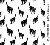 seamless pattern of the walking ... | Shutterstock .eps vector #1297616128