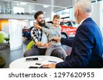 father and son talking with a... | Shutterstock . vector #1297620955
