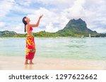 polynesian hula dancer woman... | Shutterstock . vector #1297622662