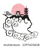 elegant frame with chinese... | Shutterstock . vector #1297623628