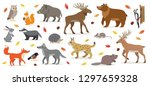 Stock vector big set of forest woodland animals isolated on white owl squirrel hare bear fox wolf badger 1297659328