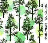 seamless pattern with old trees.... | Shutterstock .eps vector #1297668982