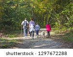 Stock photo couple with kids and dog walking by hiking trail in the autumn forest 1297672288