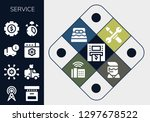 Service Icon Set. 13 Filled...
