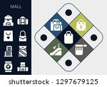 mall icon set. 13 filled mall... | Shutterstock .eps vector #1297679125