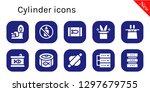 cylinder icon set. 10 filled... | Shutterstock .eps vector #1297679755