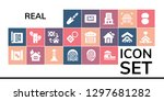 real icon set. 19 filled real... | Shutterstock .eps vector #1297681282