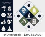 october icon set. 13 filled... | Shutterstock .eps vector #1297681402