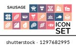 sausage icon set. 19 filled... | Shutterstock .eps vector #1297682995