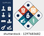 supplies icon set. 13 filled... | Shutterstock .eps vector #1297683682