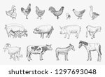 Stock vector farm animals set vector sketches hand drawn illustration background flyer booklet advertising 1297693048