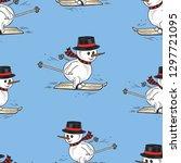 seamless pattern of the snowmen ...   Shutterstock .eps vector #1297721095