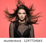 woman with beauty long brown... | Shutterstock . vector #1297724065