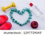 sport equipment on white wooden ... | Shutterstock . vector #1297729045
