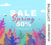 spring sale banner with flowers ... | Shutterstock .eps vector #1297749748