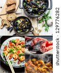 Taste a variety of seafood - stock photo