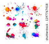 a set of colored paint stains.... | Shutterstock .eps vector #1297767418