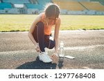 young athletic teen girl... | Shutterstock . vector #1297768408