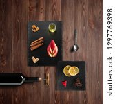 mulled wine recipe ingredients... | Shutterstock . vector #1297769398