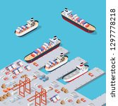 isometric city industrial dock... | Shutterstock .eps vector #1297778218