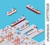 isometric city industrial dock... | Shutterstock .eps vector #1297778218