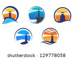 Colorful Lighthouse Symbols Se...