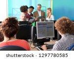 teacher talking with high... | Shutterstock . vector #1297780585