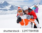 family in goggles on winter ski ... | Shutterstock . vector #1297784908