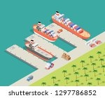 isometric city industrial dock... | Shutterstock .eps vector #1297786852