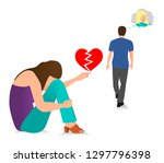 the guy leaves the young girl.... | Shutterstock .eps vector #1297796398