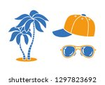 two palm trees  baseball cap ... | Shutterstock .eps vector #1297823692