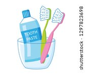 two toothbrushes and toothpaste ... | Shutterstock .eps vector #1297823698
