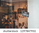 sign is open on the store. come ... | Shutterstock . vector #1297847932