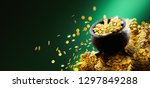 gold pot on a pile of coins  ... | Shutterstock . vector #1297849288