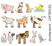 farm animal stock collection | Shutterstock .eps vector #129785132